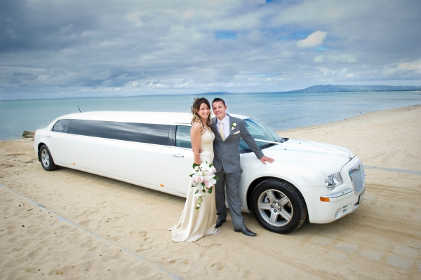 Enrik Limousines - White Chrysler Beach Wedding Limousine Hire Melbourne