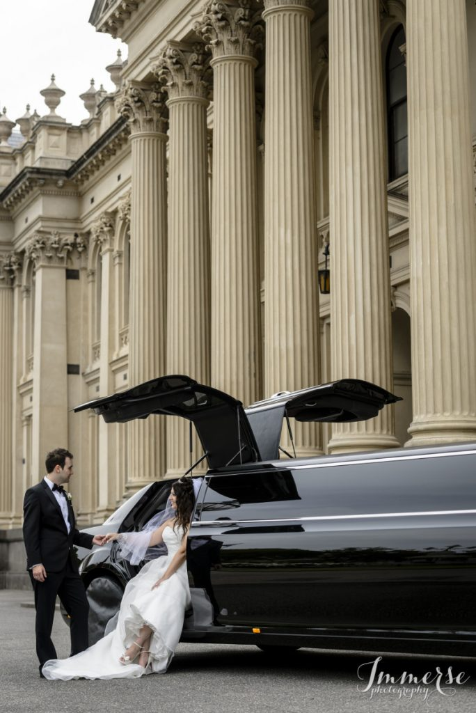 bride and groom chrysler limousine