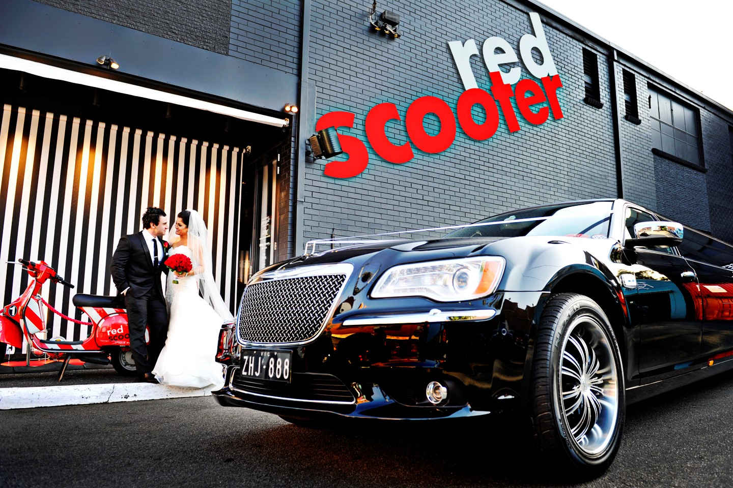 Red Scooter Winter Wedding Limo Hire Melbourne