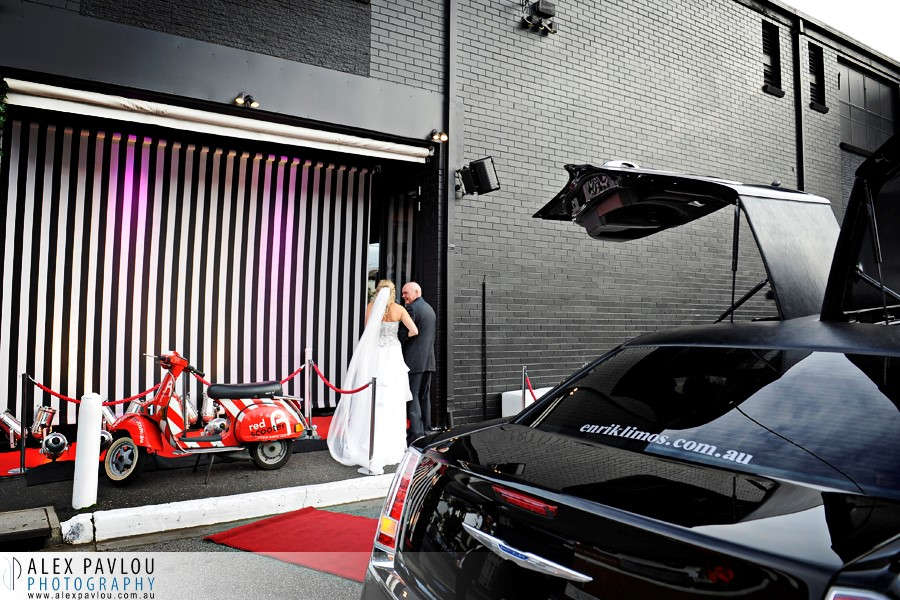 Red Scooter Winter Wedding Limo Hire